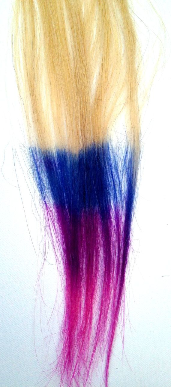 Blue purple pink dip dyed ombre hair extensions httpsetsy awesome pink and purple and blue ombre hair dip dye hair extensions blonde with blue purple pink tips 2 wide pmusecretfo Choice Image