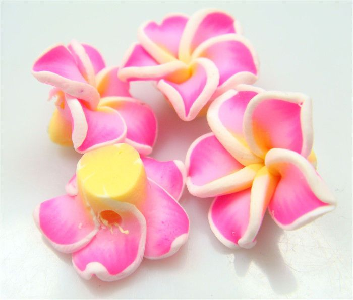 Wholesale 10Pcs Mixed 3 color Flower Flat Back Cabochon Polymer Clay Beads a4w2