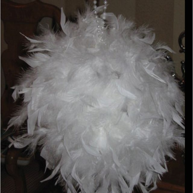 Feather boas glue gunned to styrofoam balls wedding