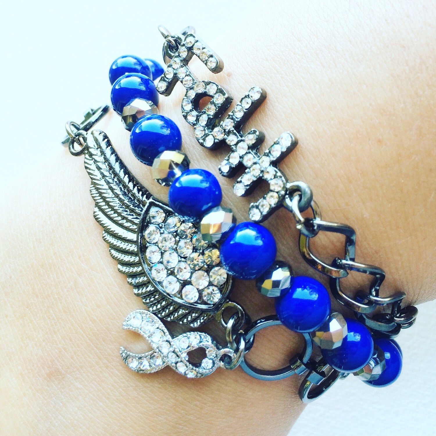 bracelet encouragement navy cancer keychain boot colon crohn pin colitis ribbon survivor s blue colorectal cowboy