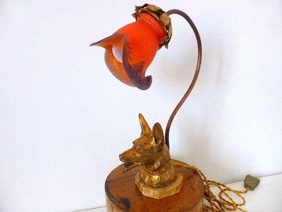 antique french lamp p te de verre art deco german shepherd marchand paris courier art. Black Bedroom Furniture Sets. Home Design Ideas
