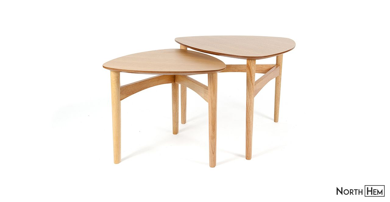 Beholm Tripod Nesting Tables | Natural Oak Nesting Coffee Tables
