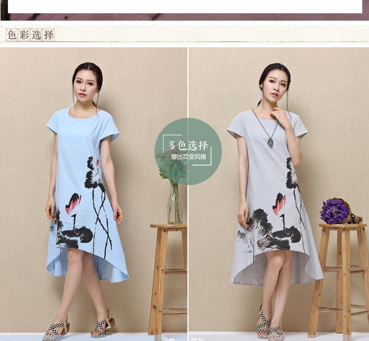 2015 summer new cotton loose Chinese style art ink printing large size women fat MM linen Dress | OK Fashion