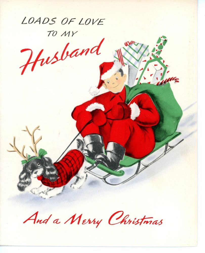 Vintage norcross greeting card christmas hubby santa sled pulled by vintage norcross greeting card christmas hubby santa sled pulled by dog 3075 collectibles paper kristyandbryce Choice Image