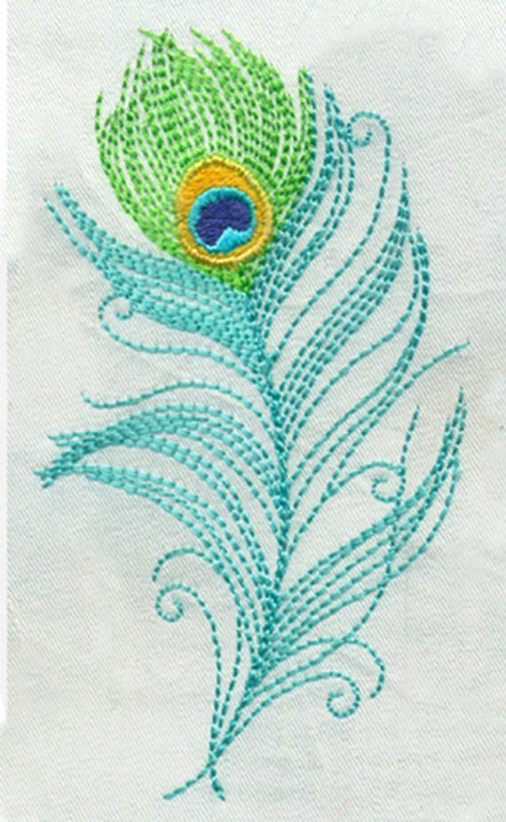 4T Large Sketchy Peacock Feather - Embroidery Design - Instant Digital Download #onehome