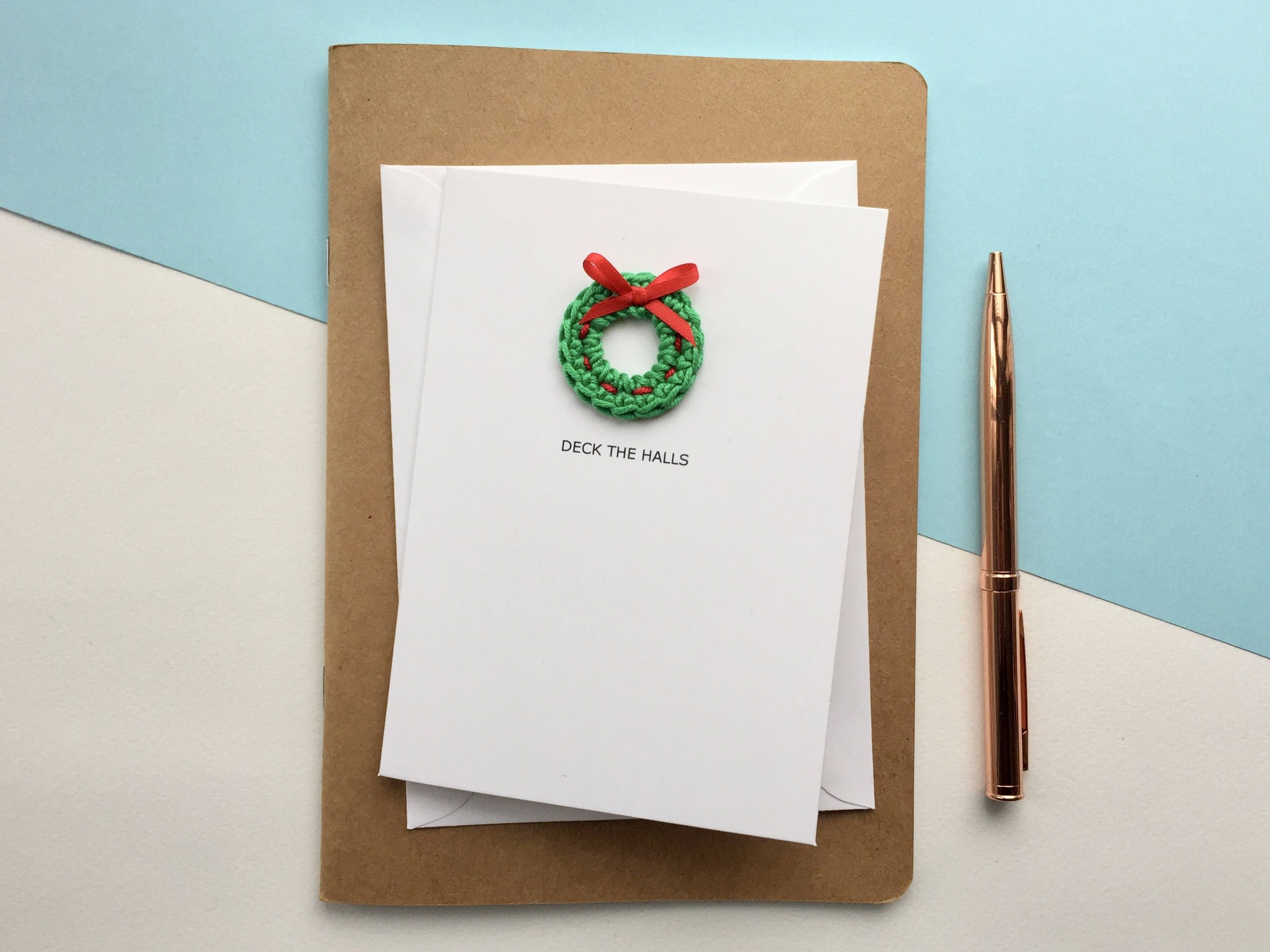 Photo of Crochet wreath Christmas card