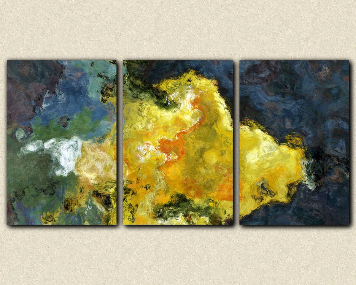 Triptych abstract giclee canvas print with gallery wrap, 24x48 to ...