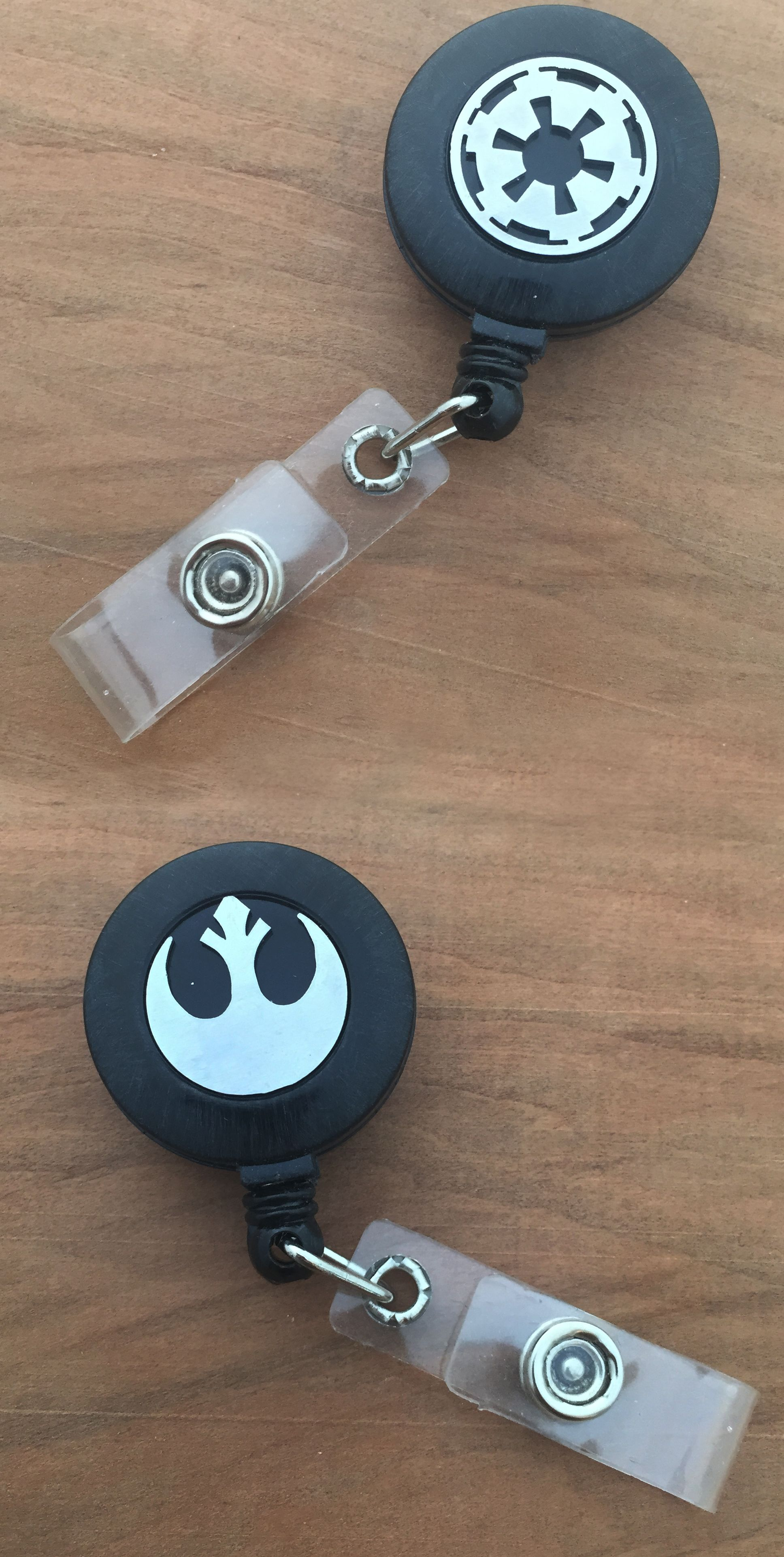 Star Wars Rebel or Imperial Insignia ID work retractable badges