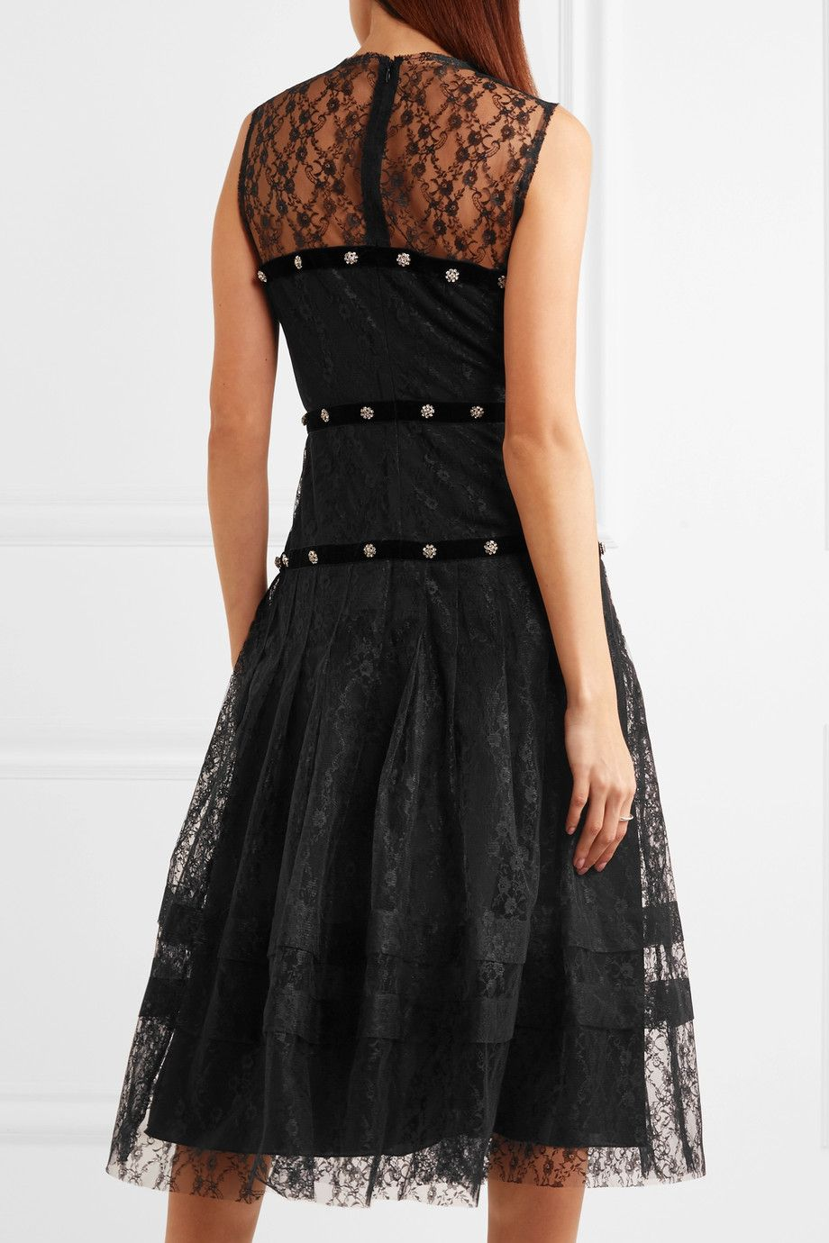 Clearance Factory Outlet 100% Original Cheap Online Embellished Velvet-trimmed Pleated Lace Midi Dress - Black Philosophy di Lorenzo Serafini 2018 Cheap Online nSYQm9