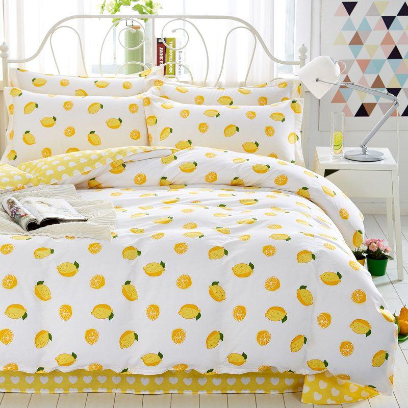 Home Textiles Yellow Lemon Style 100 Cotton Bedding Sets 4pcs Of Duvet Cover Bed Sheet Pillowcase King Quee Yellow Bedroom Decor Yellow Room Decor Bedding Sets