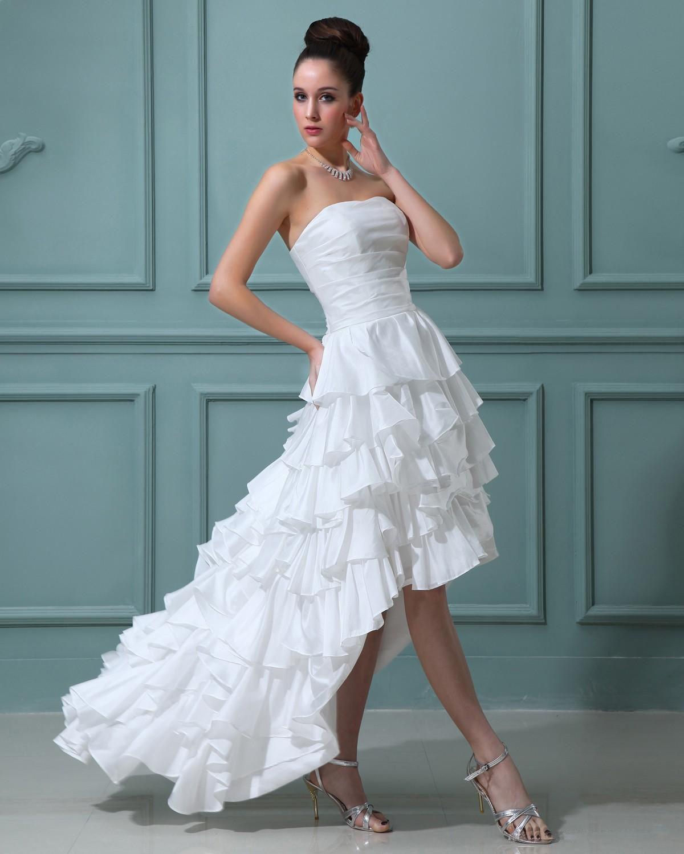 Ruffles Taffeta Sleeveless Sweetheart Short Mini Wedding Dress ...