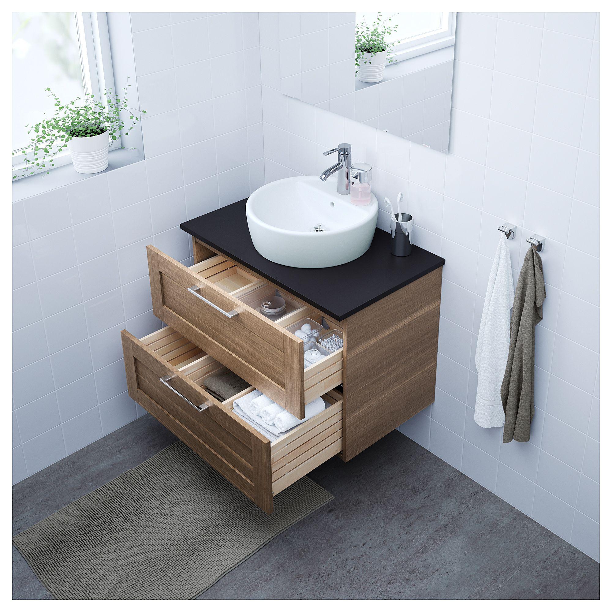 Ikea Godmorgon Tolken Tornviken Bathroom Vanity Walnut Effect
