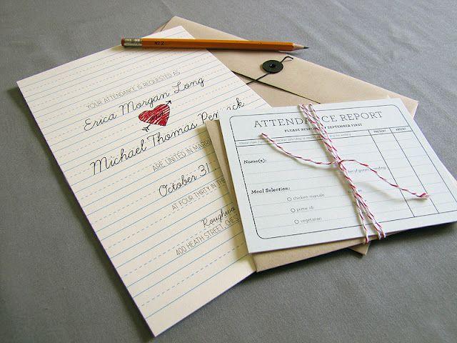 School Days wedding invites (seen on DailyCandy)