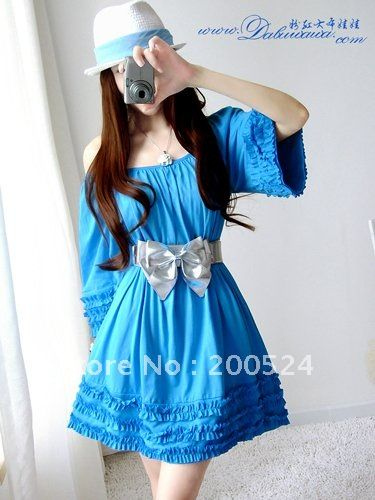 Korean style dress Lotus lace blouses good quality cotton doll dress,casual dress,Blue,pink& Free shipping on AliExpress.com. $40.00