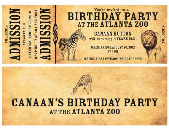 Zoo birthday party ticket invitation zoo pinterest zoo zoo birthday party ticket invitation printable zoo ticket invite kids birthday party at zoo vintage zoo ticket kids zoo party invite stopboris Images