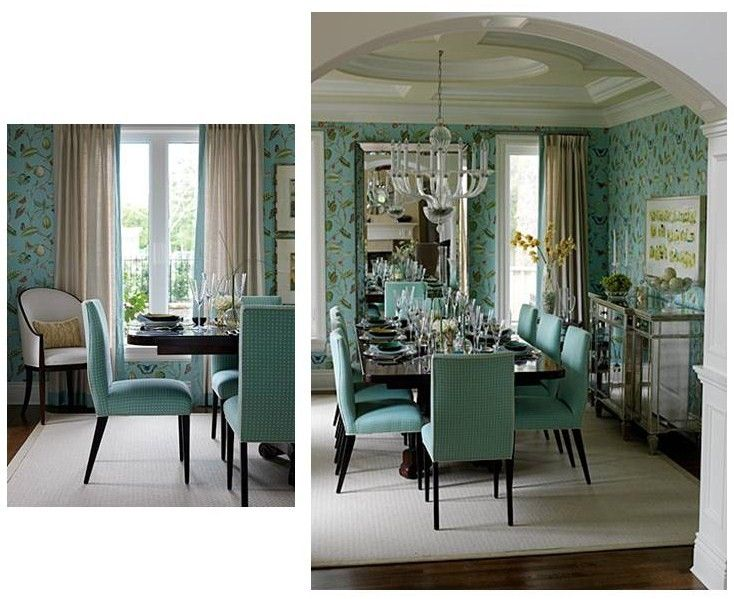 Turquoise/dark wood/mirror accents inspiration | Dining ...