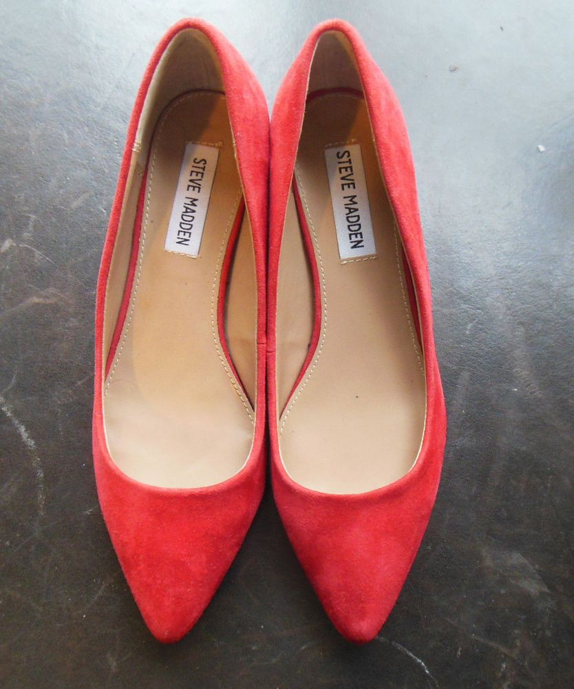 2d7f3795154b Steve Madden red suede Cormac slip on leather pumps 1.5