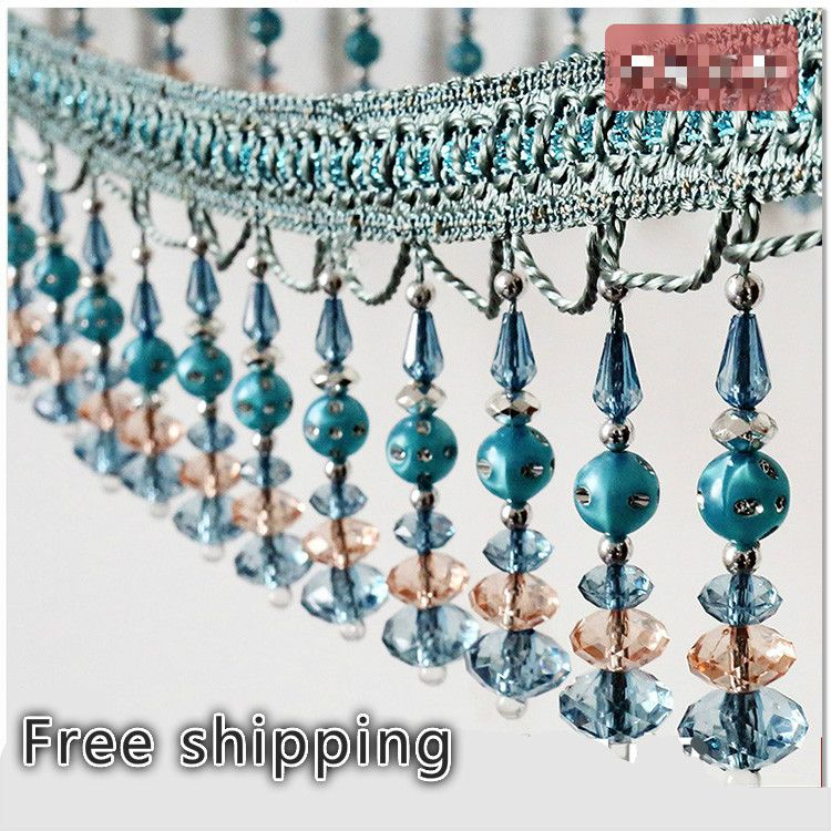 15meters A Roll Beaded Trim For Curtains Tassel Fringe Crytall