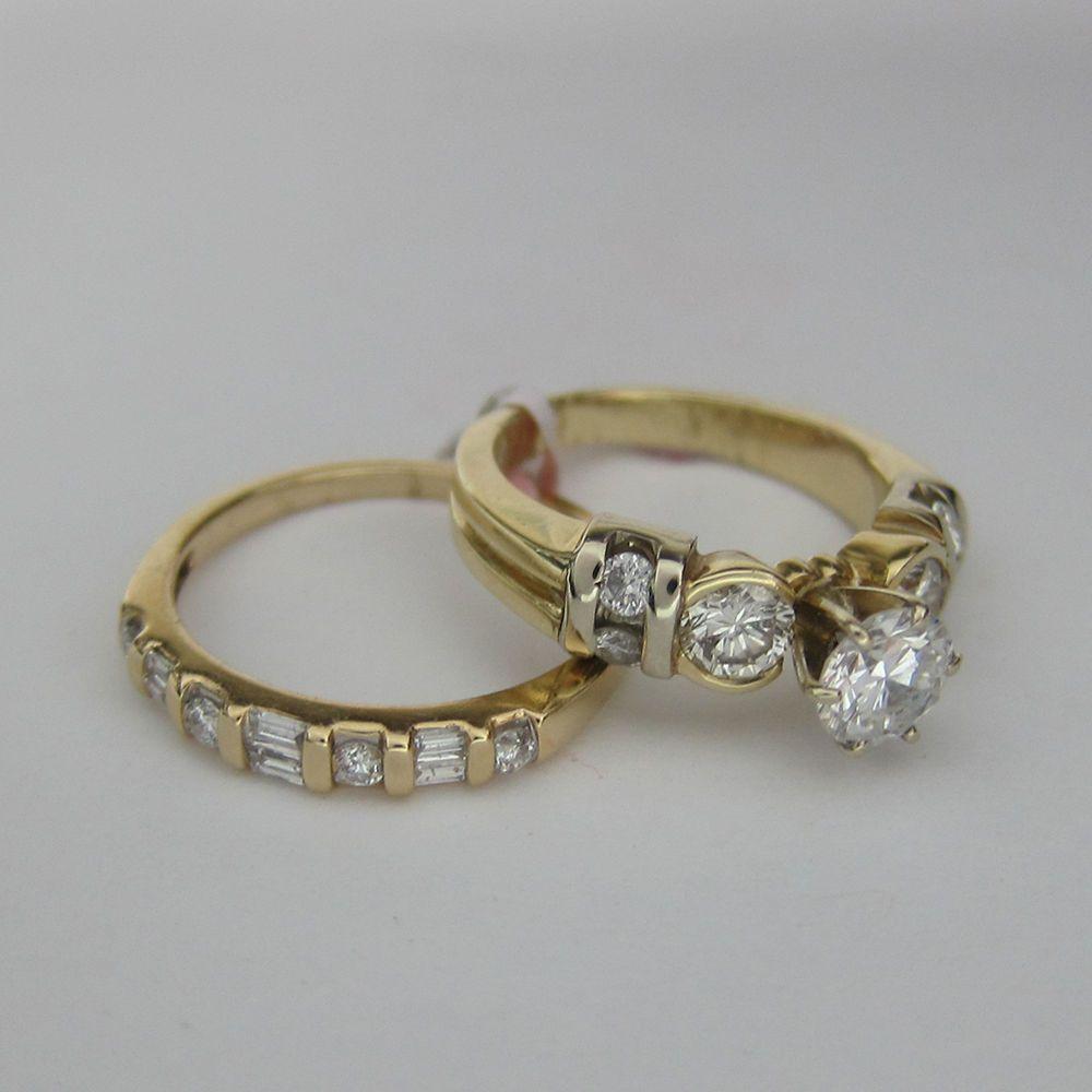 Auction 1 50 Ct Diamond Bridal Ring Set F SI 14k Yellow Gold   eBay