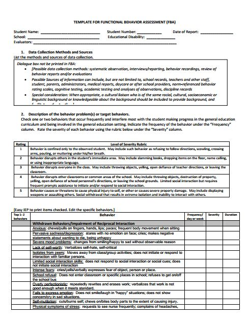Fba Checklist ( Functional Behavior Analysis) | Behavior