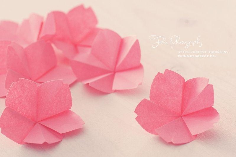 Origami Kirschblüten Basteln Diy Kirschblüten Falten Aus
