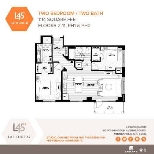 Two Bedroom Two Bath 1 114 Square Feet Available On Floors 2