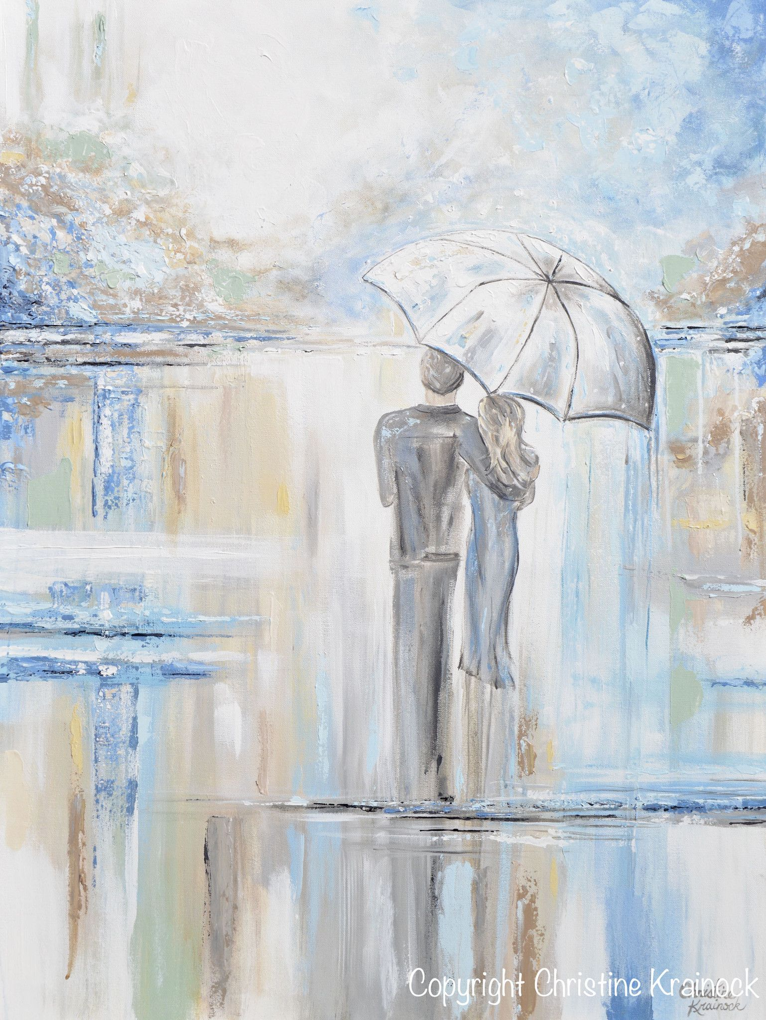Giclee print art abstract painting couple w umbrella romantic walk