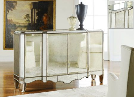 High class glamour brings sparkle to any room with this fully Mirrored Sideboard.  Come see this in the J. Garner Home Showroom!