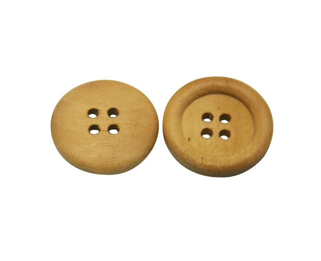 Amanaote Brown Wooden Button Round 23mm Diameter with 4 Holes for Craft Sewing DIY Pack of 40