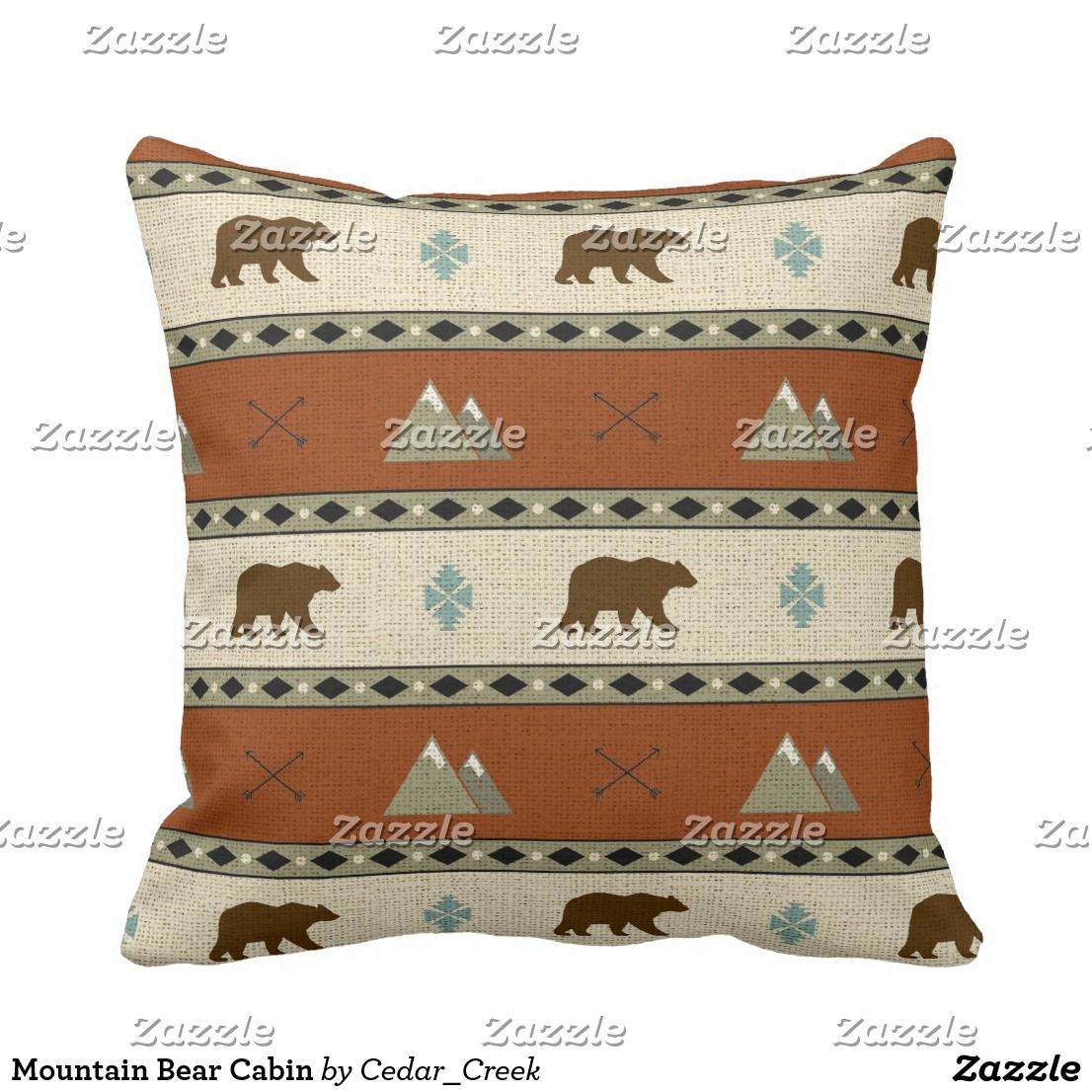 Mountain Bear Cabin Throw Pillow | Cabin/Lodge Decor for sale ...