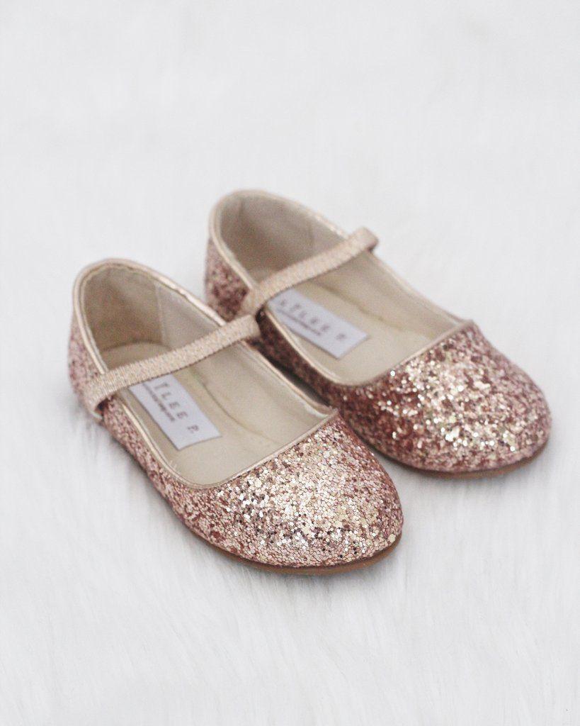 Girls Shoes ROSE GOLD Rock Glitter Maryjane Ballet Flats