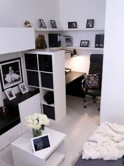 Photo of Contemporary super small home office filled with IKEA's furniture. #Homeofficeid… Check mor…