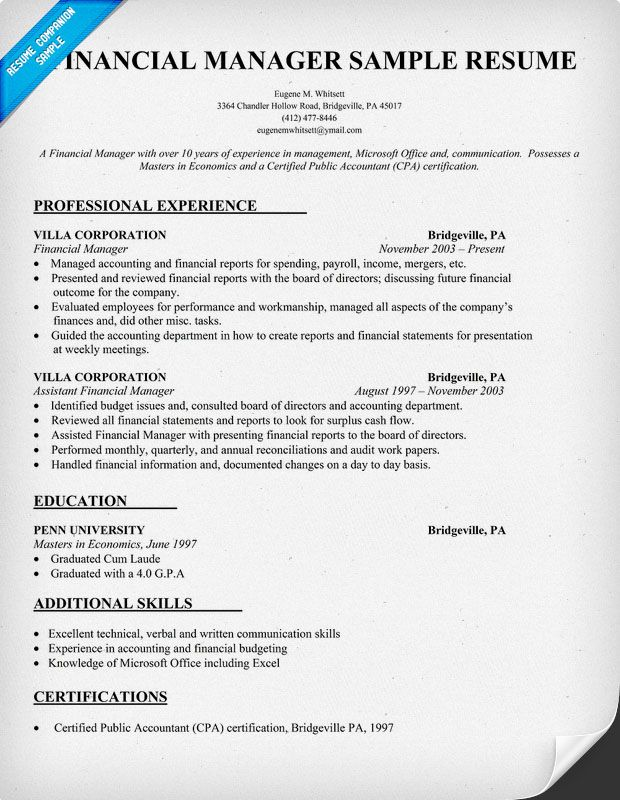sample finance manager resume
