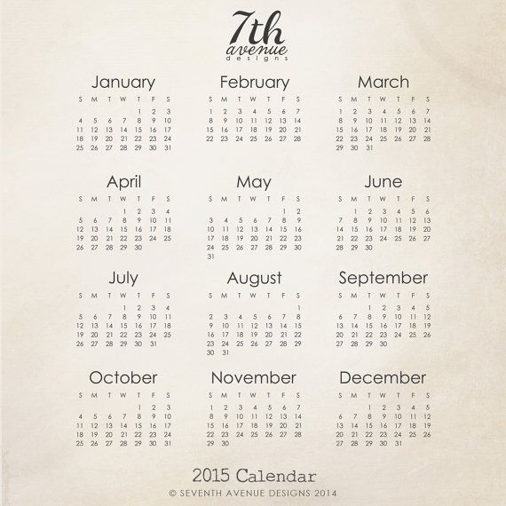 2015 Calendar Brush and Template by 7thavenuedesigns on Etsy, $1000