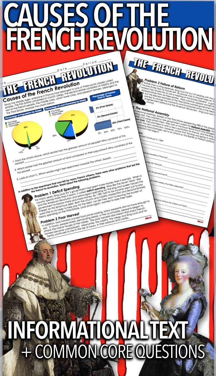 Causes Of The French Revolution Informational Text Takes Students Back To 1789 France Students Learn T History Lesson Plans French Revolution Teaching History