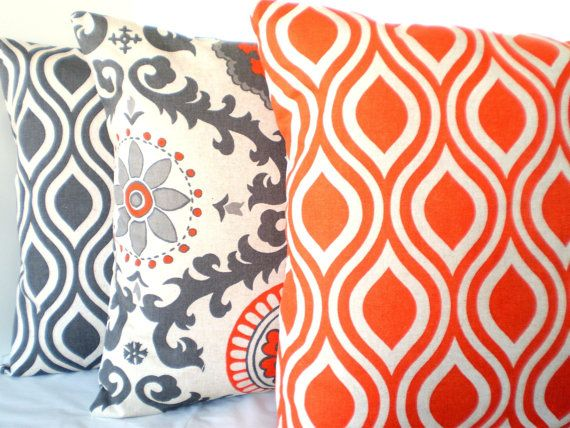 decorative throw pillows cushion covers gray orange natural both sides combo set of three 18