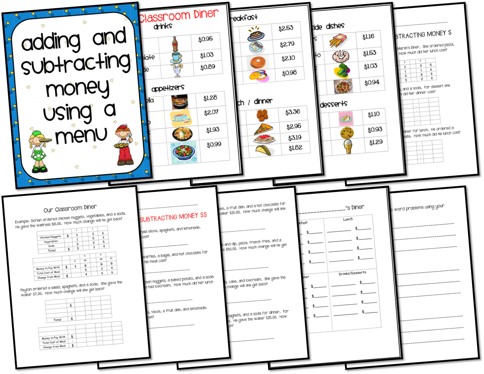 Money Menu Math Students add and subtract money Also has – Adding and Subtracting Money Worksheets