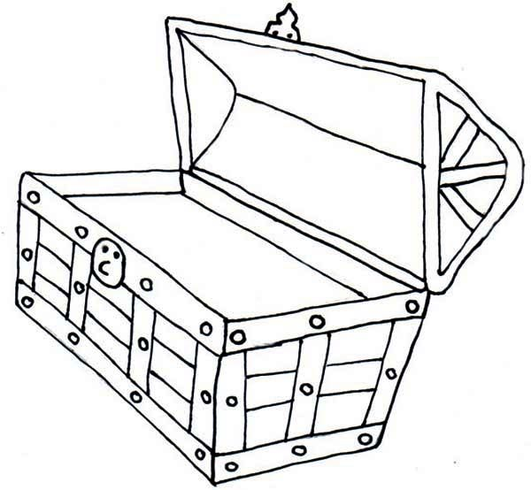 An Opened Yet Empty Treasure Chest Coloring Page An ...
