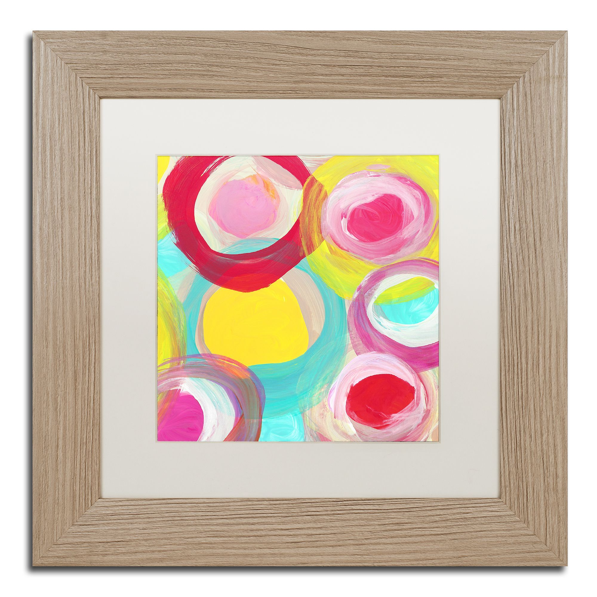 Trademark Art Colorful Sun Circles Square By Amy Vangsgard Framed