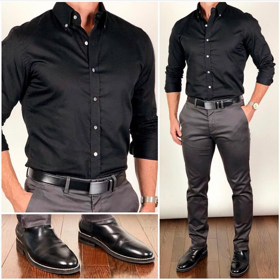 This Was By Far Your Favorite Outfit From Back In August A Solid Black Dress Shirt Is A Solid Essen Mens Clothing Styles Formal Men Outfit Mens Casual Outfits [ 1080 x 1080 Pixel ]