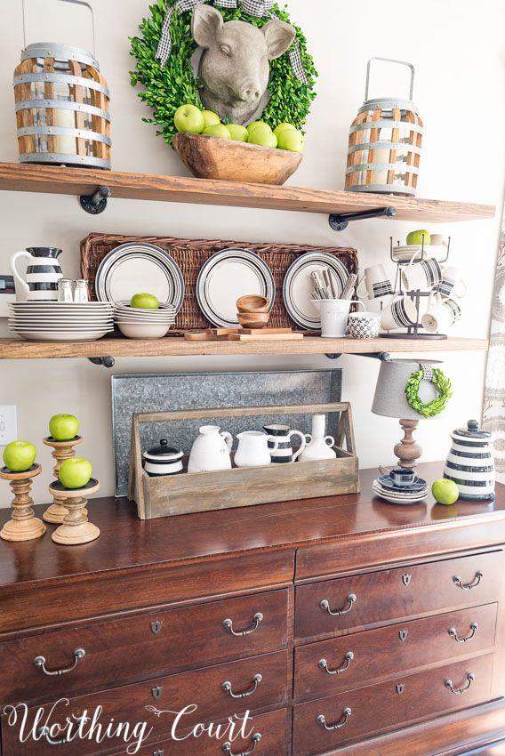 Late Summer Open Farmhouse Kitchen Shelves   Worthing Court