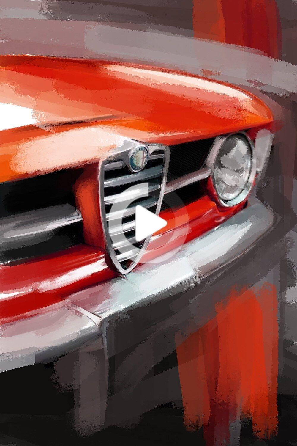 Alfa Romeo GTV, classic car large wall art. Canvas print or a paper giclee print