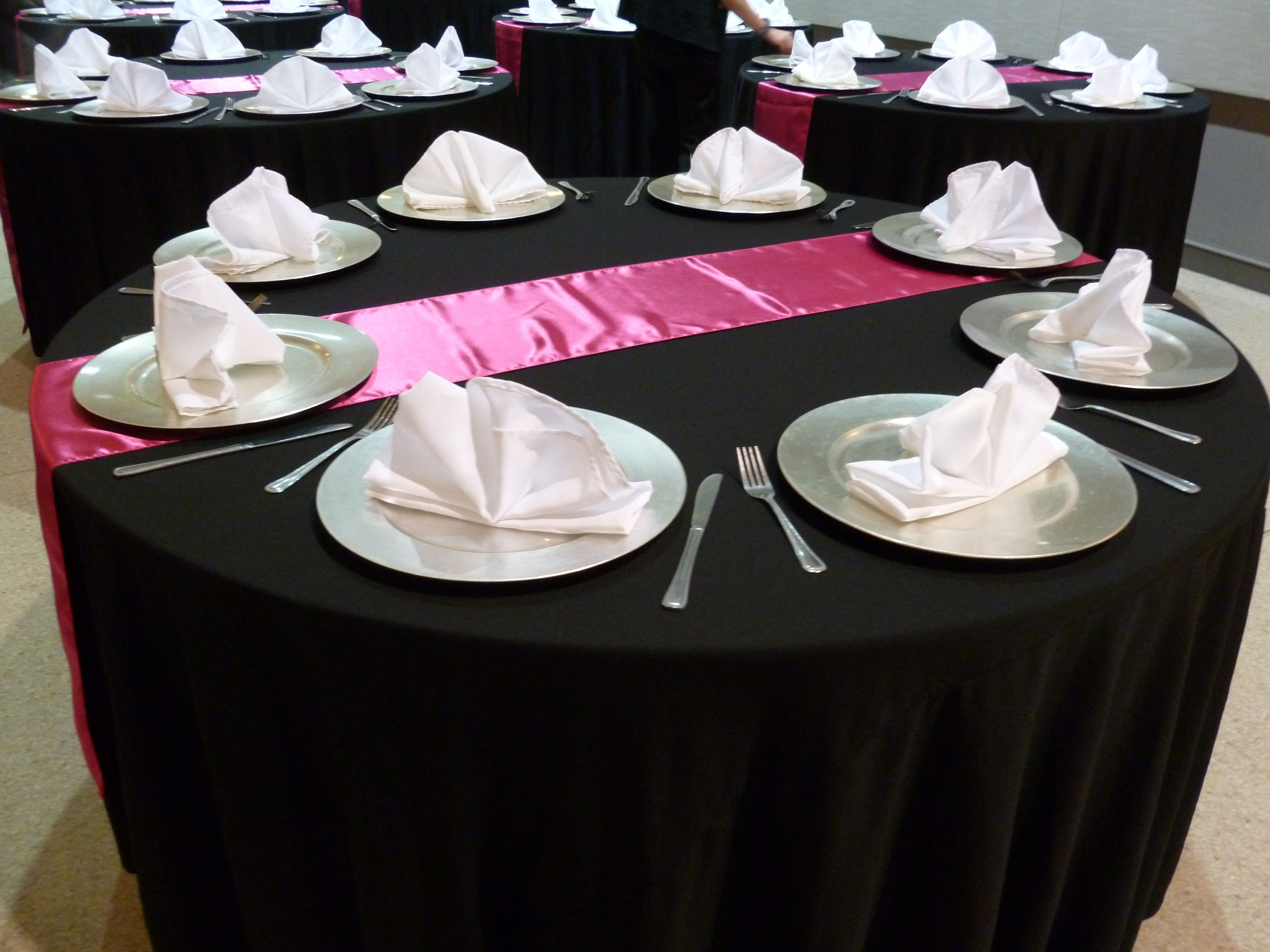 Black Linens, Silver Charger Plates, Hot Pink Satin Runners U0026 White  Polyester Napkins (