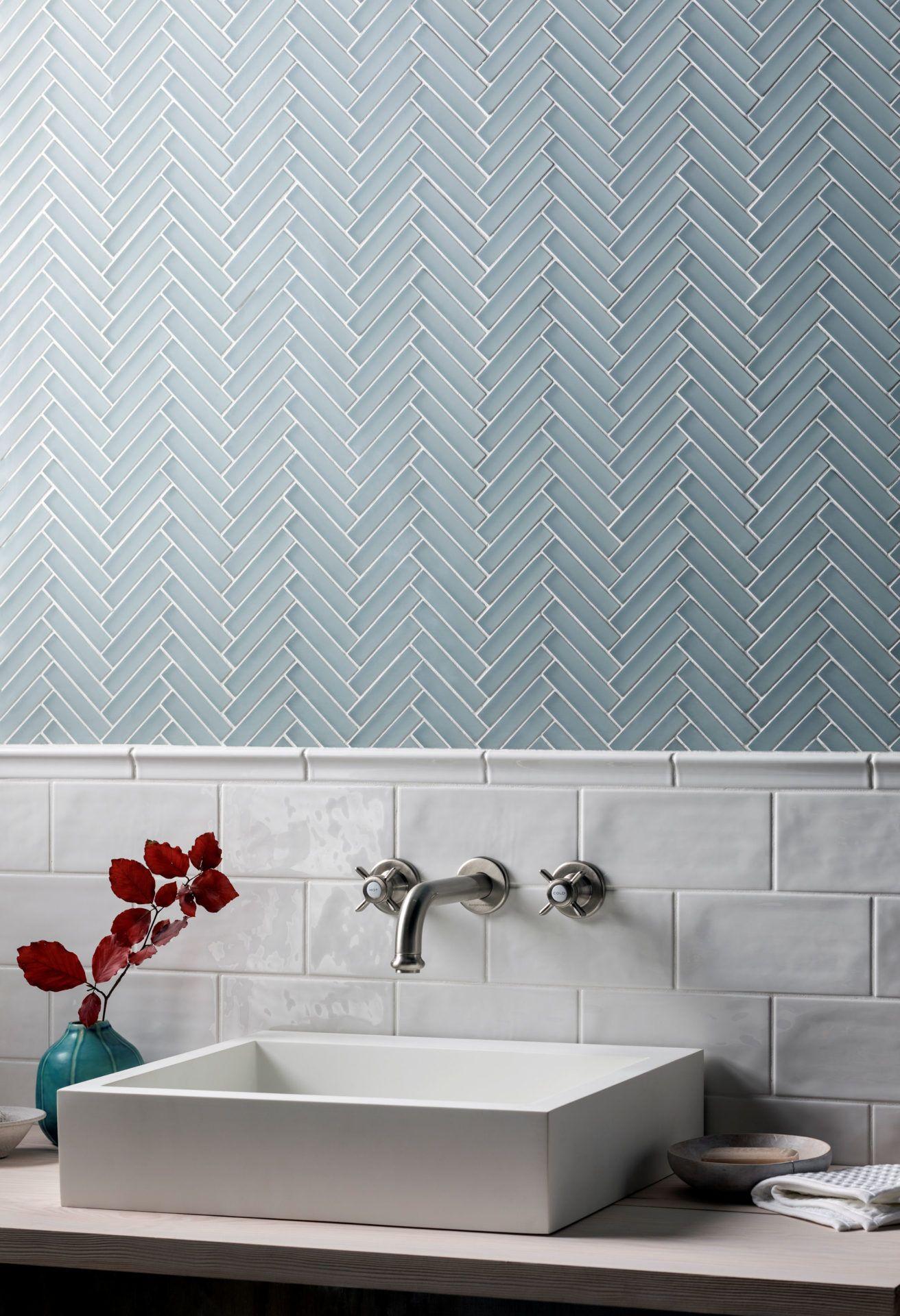 Glacier Grey Glass Herringbone Mosaic Modern bathroom