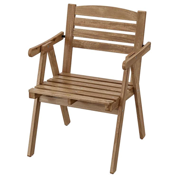 Falholmen Chaise Avec Accoudoirs Exterieur Teinte Gris Brun Teinte Brun Clair En 2020 Chaise Accoudoir Teinture Bois Et Ikea