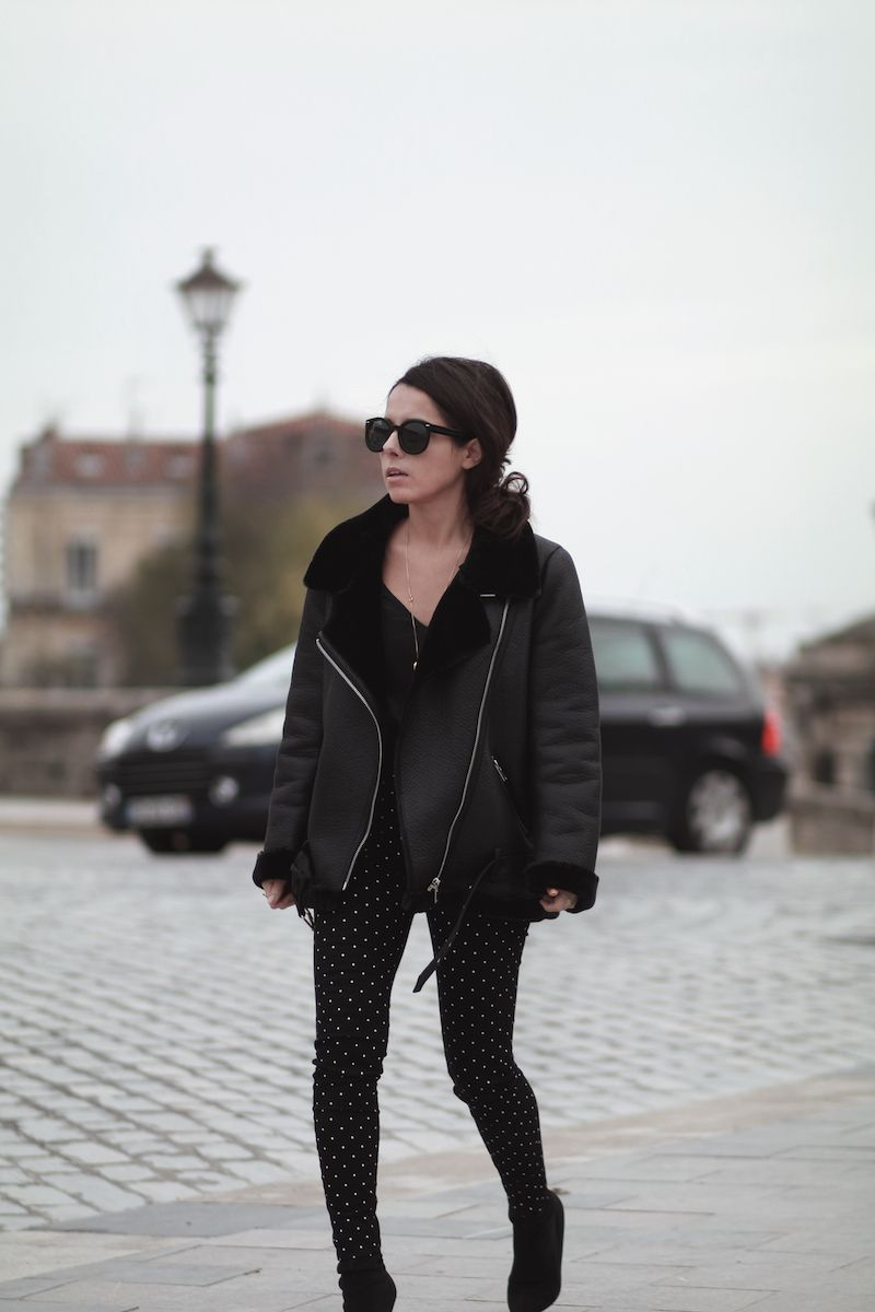 bombardier veste fourrée zara pantalon jogging noir pois blanc