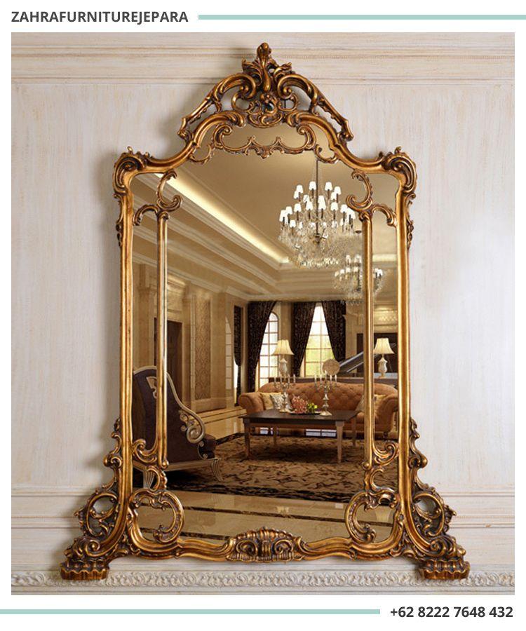 Cermin Ornamen Kayu Cermin Hiasan Dinding Cermin