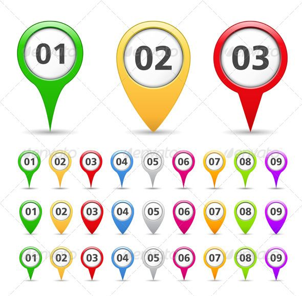 Map Markers with Numbers Map marker, Vector graph