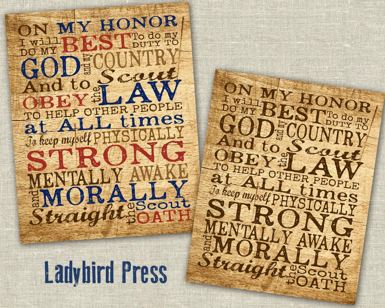 Printable Boy Scout Oath Print Court Of Honor Scout Oath