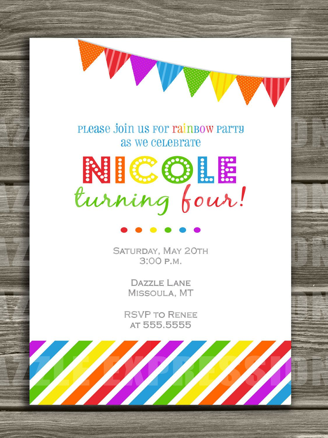 Rainbow Birthday Invitation - FREE thank you card included. $15.00 ...